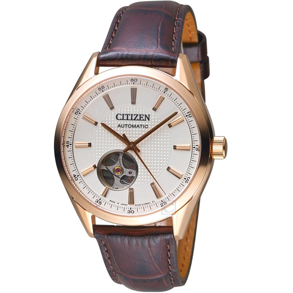CITIZEN 星辰紳士時尚開芯機械腕錶(NH9110-14A)-玫瑰金x棕皮