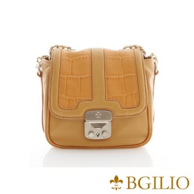 義大利BGilio-Nappa鱷魚紋牛皮五金釦小包 (1701.004-13)