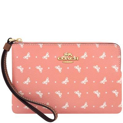 COACH 粉紅色蝴蝶圖樣PVC手拿包