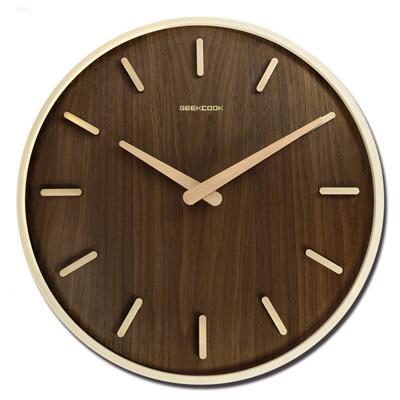 14吋 居家擺飾 輕薄簡約 挪威森林 木紋質感 餐廳客廳臥室 靜音 圓掛鐘 - 胡桃木色