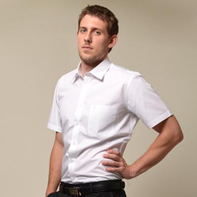【金安德森】 白色窄版短袖襯衫fast