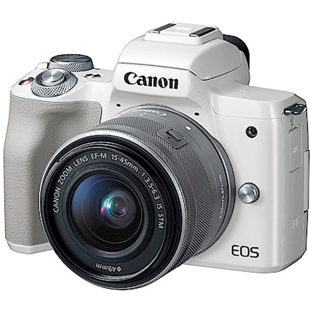 【128G雙電】Canon EOS M50 15-45mm STM 變焦組(公司貨)-白色