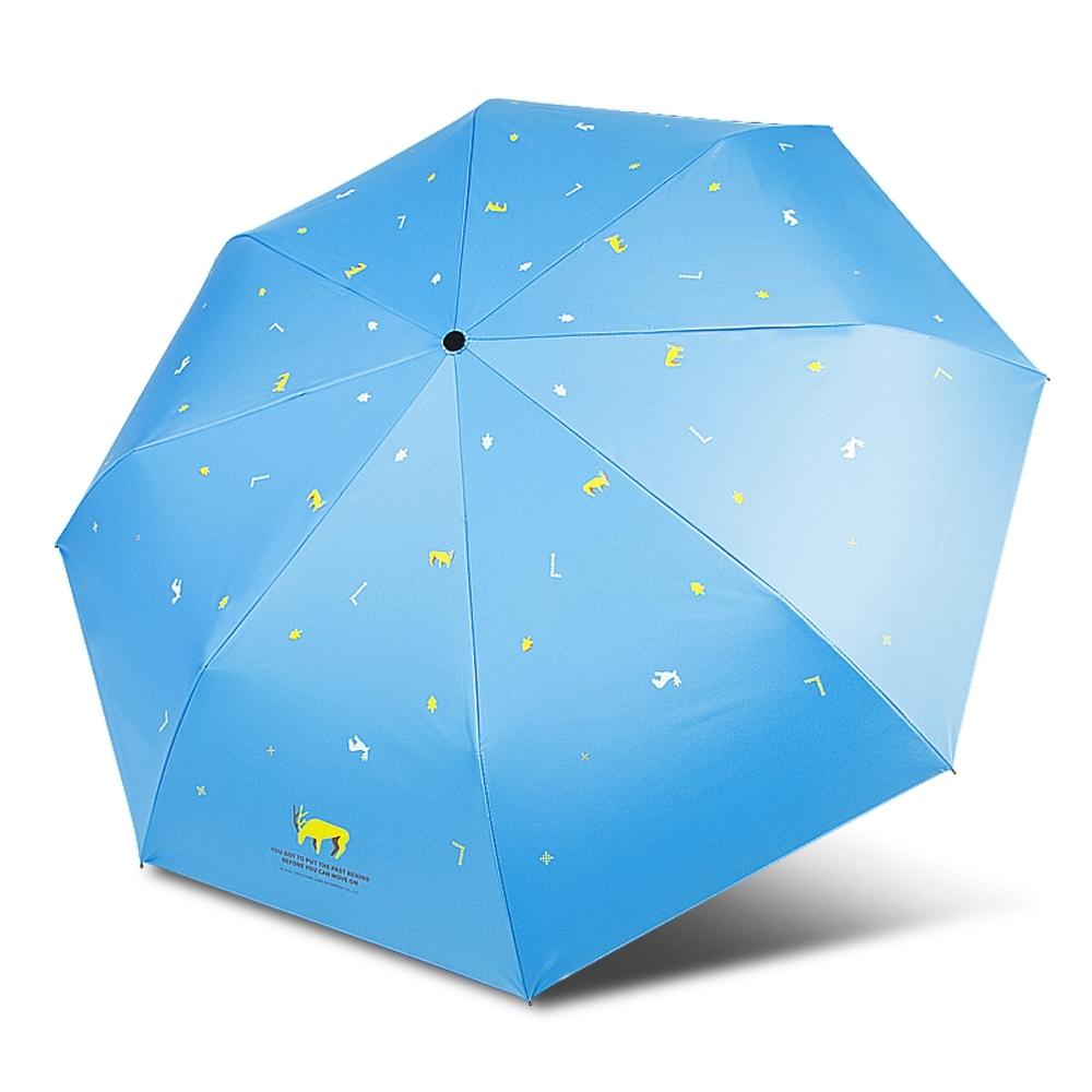 【TDN】麋鹿UL超輕易開收降溫三折傘黑膠晴雨傘B7617B-天空藍