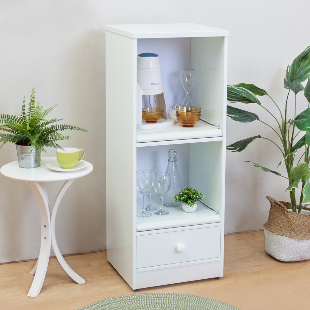 Birdie南亞塑鋼-1.5尺一抽二拉盤塑鋼電器櫃/餐櫃(白色)-44x41x115cm