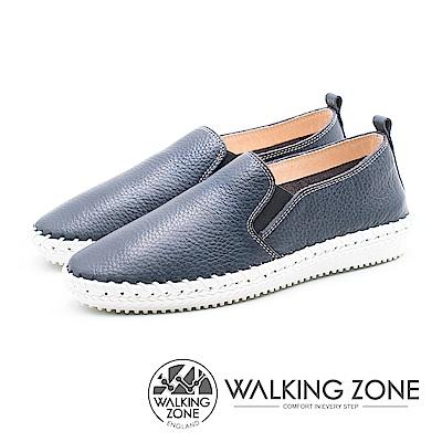 WALKING ZONE 簡約舒適皮革懶人樂福鞋便鞋 男鞋-藍(另有棕)