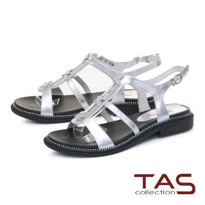 TAS星星水鑽質感T字涼鞋-閃耀銀