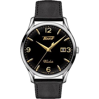 TISSOT 天梭 VISODATE 經典復刻石英錶(T1184101605701)