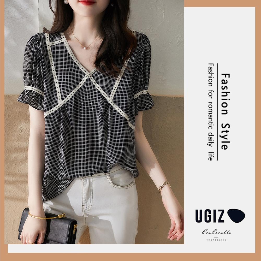 UGIZ-修身時尚簡約清新格紋滾邊荷葉袖造型上衣-小方格(M-XL)