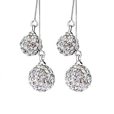 I.Dear飾品-閃耀人生-925純銀垂墜滿鑽雙珠耳環AH06