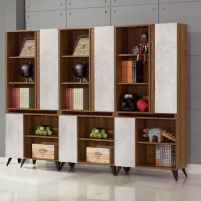 D&T 德泰傢俱 DINO清水模風格8尺組合書櫃-240x32x181cm