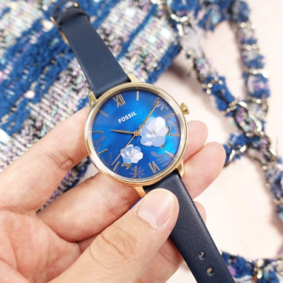 FOSSIL /  Winnie 珍珠母貝 花漾綻放 羅馬刻度 晶鑽 真皮手錶-藍x香檳金框/38mm