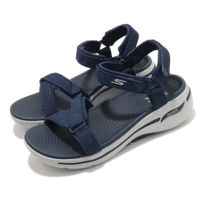 Skechers 涼鞋 Go Walk Arch Fit 女鞋 專利鞋墊 避震 緩衝 穩定 魔鬼氈 藍 灰 140251NVY