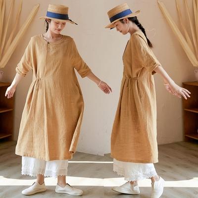 14支法國亞麻手工刺繡洋裝長裙-設計所在