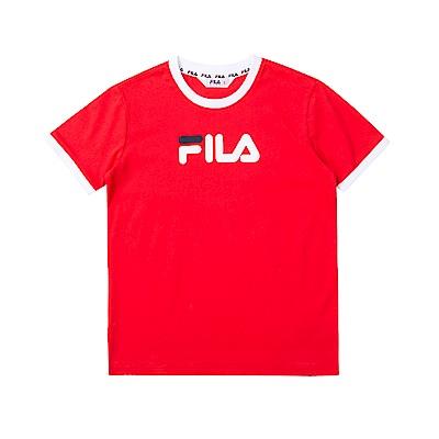 FILA KIDS 童短袖圓領T恤-紅色 1TET-4508-RD