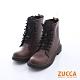ZUCCA 率性綁繩皮革中筒軍靴-棕色-z6513ce product thumbnail 1