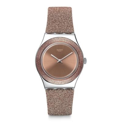 Swatch Irony 金屬系列手錶 ROSE SPARKLE 玫瑰色火花-33mm