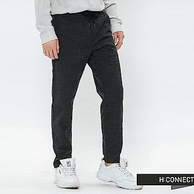 H:CONNECT 韓國品牌 男裝-格紋抽繩休閒褲-深灰