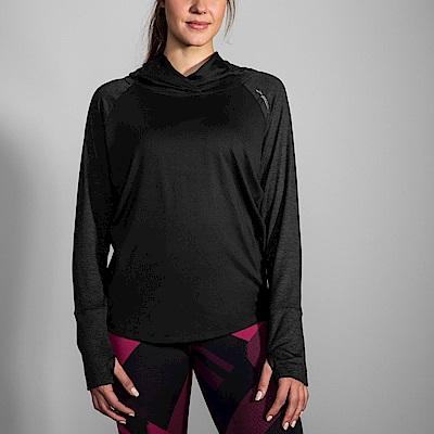 BROOKS 女 奔跑連身帽上衣 黑 (221284016)