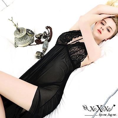 情趣睡衣 柔情魅力開衩長睡裙 挑逗黑 XOXOXO