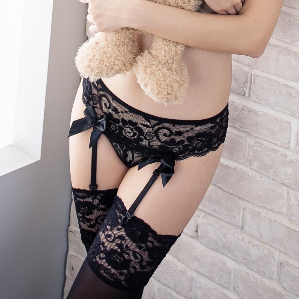 性感吊襪帶大腿襪組 性感蕾絲丁字褲吊襪帶美腿絲襪3件組 流行E線