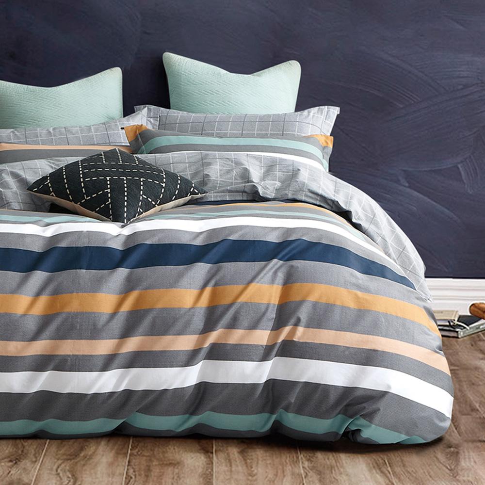 戀家小舖 / 雙人加大床包枕套組 午後時光黃 100%精梳棉 活性印染