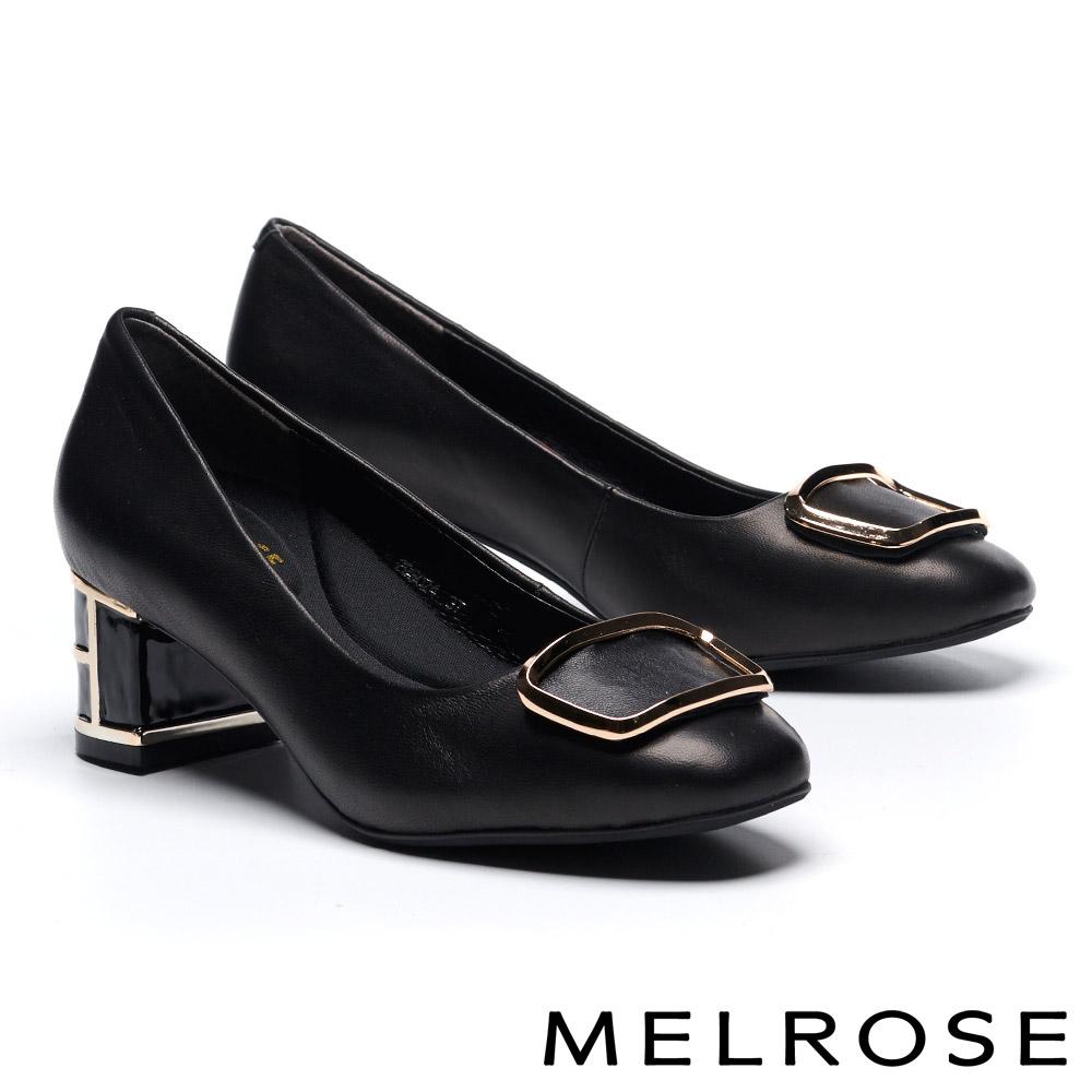 高跟鞋 MELROSE 簡約大方金屬飾釦特色鞋跟羊皮高跟鞋-黑