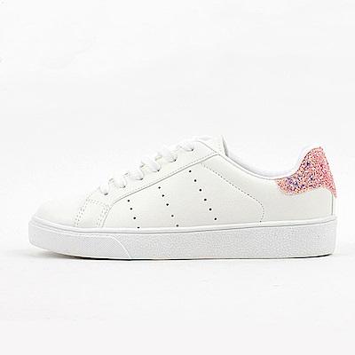 【AIRKOREA韓國空運】運動風綁帶皮革質感休閒鞋-白粉