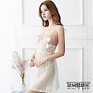 情趣睡衣 誘惑美胸柔紗後開叉吊帶睡裙。白色 被窩的秘密