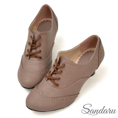 山打努SANDARU-復古刷色雕花綁帶牛津鞋-咖啡