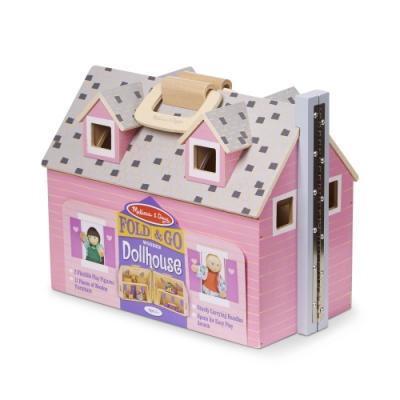 【Melissa & Doug 美國瑪莉莎】小折原木娃娃屋 - 溫馨別墅