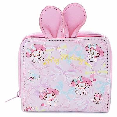 Sanrio 美樂蒂俏皮兔耳PU皮革童用可愛短皮夾(緞帶)