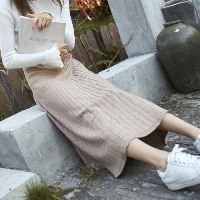 Lockers 木櫃 氣質復古文雅純色針織A字半身裙-3色