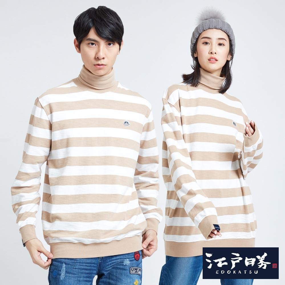 EDO KATSU江戶勝 高領寬條紋落肩長袖T恤-中性-土黃色