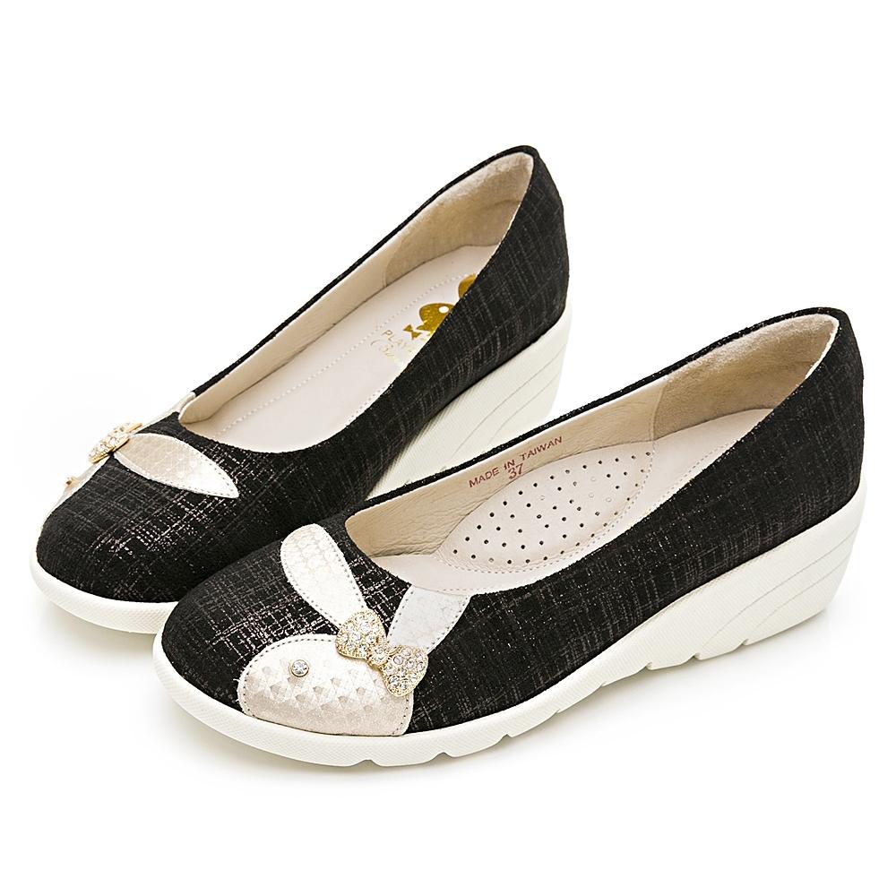 PLAYBOY 典雅氣質 亮蔥紋增高娃娃鞋-黑-Y6779CC
