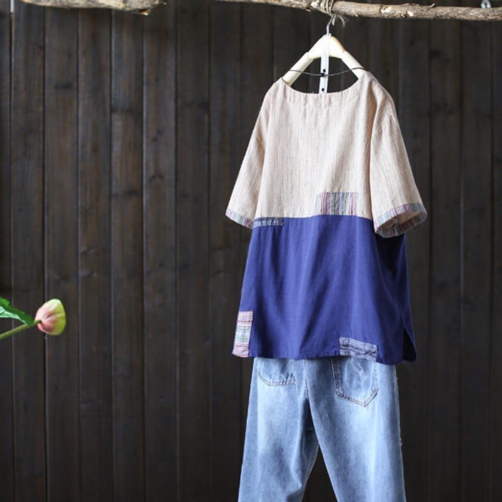 寬鬆棉麻綵線條紋貼布t恤短袖罩衫上衣-設計所在
