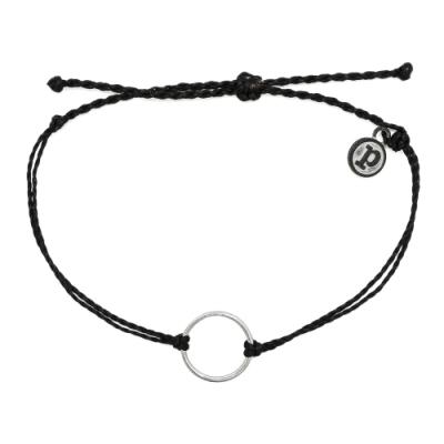 Pura Vida 美國手工 銀色圓圈 黑色臘線衝浪手鍊手環