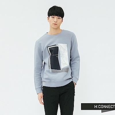 H:CONNECT 韓國品牌 男裝-幾何紋路印花上衣-藍