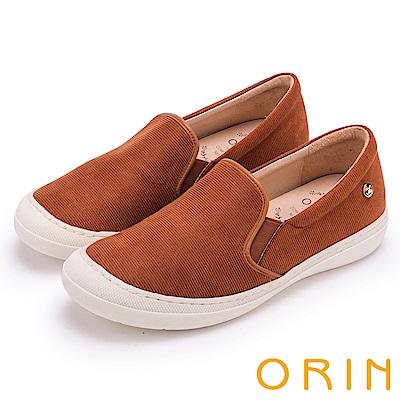 ORIN 潮流同步 質感布料素面休閒便鞋-棕色
