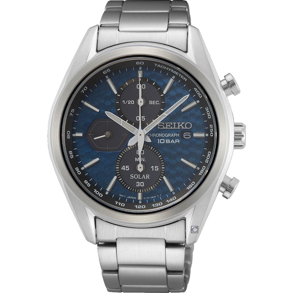 SEIKO 精工 喬治亞羅設計三眼計時太陽能腕錶(SSC801P1)V176-0BH0B-40.5mm