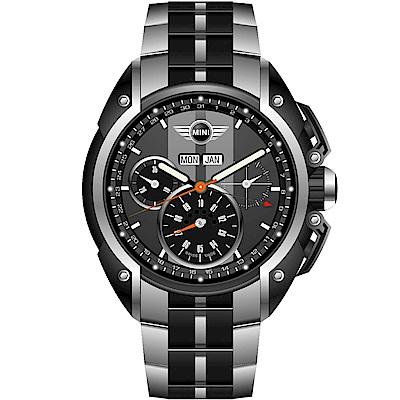 MINI Swiss Watches 極速運動計時腕錶(MINI-05S)-灰色/金屬帶款