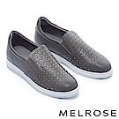 休閒鞋 MELROSE 百搭激光編織感晶鑽全真皮厚底休閒鞋-灰