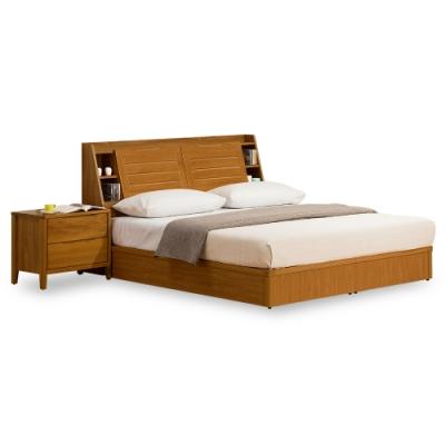 時尚屋  米堤柚木色5尺床箱型雙人床(不含床頭櫃-床墊)