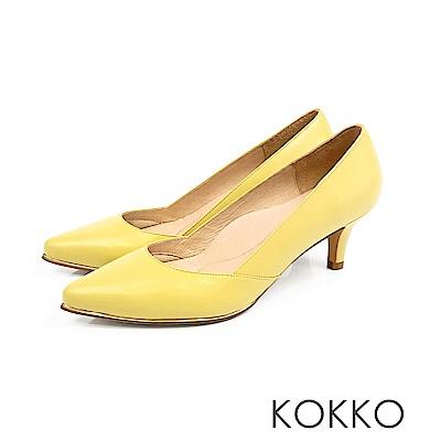 KOKKO - 女王品味尖頭鑲嵌金屬真皮高跟鞋 - 芒果黃