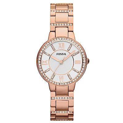 FOSSIL Virginia閃耀晶鑽時尚手錶(ES3284)-玫瑰金/30mm