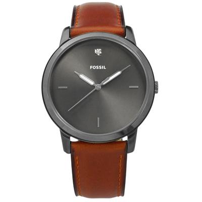 FOSSIL 復古美學真鑽刻度日本機芯真皮手錶-灰x咖啡色/44mm