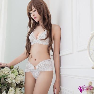 Sexy Cynthia情趣內衣純白花嫁蕾絲比基尼二件組-白F