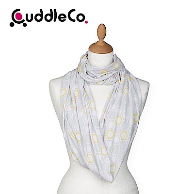 英國CuddleCo 多功能時尚造型哺乳圍巾-灰格蜜蜂