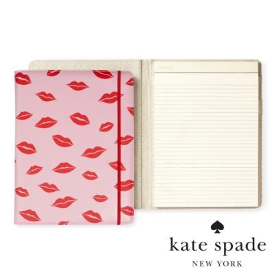 Kate Spade 唇唇欲動紅印皮革筆記本 Notepad Folio,Lips