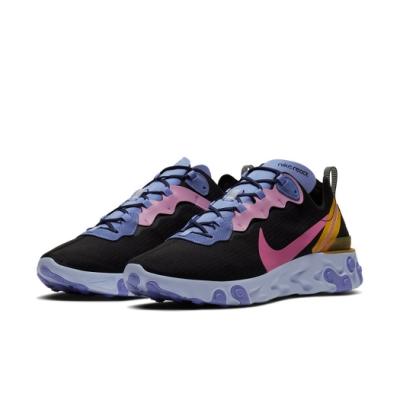 Nike 休閒鞋 React Element 55 男鞋 輕量 舒適 避震 球鞋 穿搭 黑 紫 CI9593001