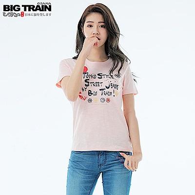 BigTrain和風家徽圓領短袖T女款-女-粉桔